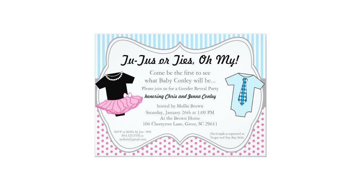 TuTus Ties, Gender Reveal Baby Shower Invitation | Zazzle.com