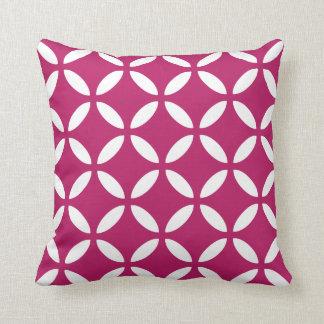 Tuva Pattern Madder Carmine Geometric Throw Pillow