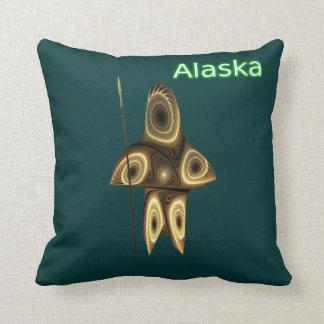 Tuvaaq - Fractal Inuit Hunter Throw Pillow