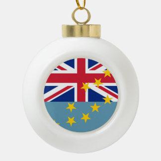 Tuvalu Flag Ceramic Ball Christmas Ornament