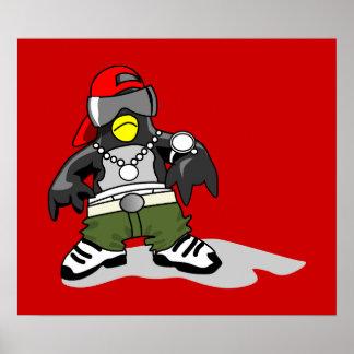 tux-30043 GANGSTER ATTITUDE FUNNY  tux penguin  da Poster