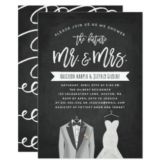 Tux and Dress Couples Wedding Shower Invitation