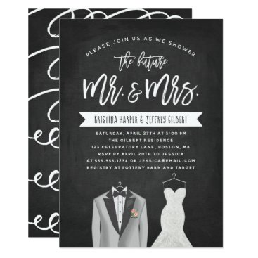 Wedding Themed Tux and Dress Couples Wedding Shower Invitation