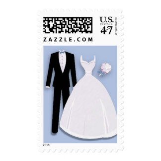 Tux and Gown on Blue Postage