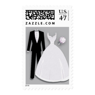 Tux and Gown on Gray Postage