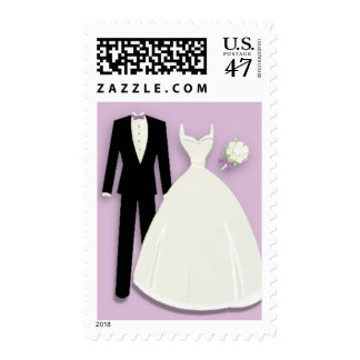 Tux and Gown on Lavender Postage