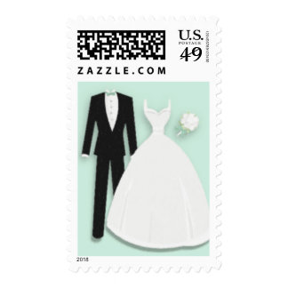 Tux and Gown on Mint Green Postage