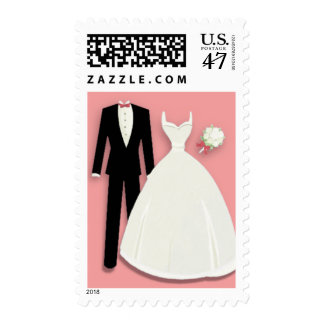 Tux and Gown on Pink Postage