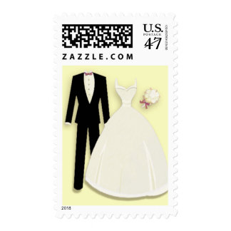 Tux and Gown on Yellow Postage