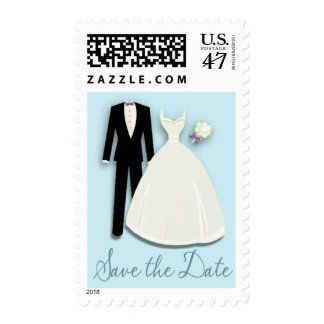 Tux and Gown Save the Date Blue Postage