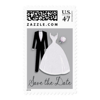 Tux and Gown Save the Date Gray Postage