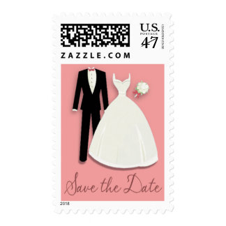 Tux and Gown Save the Date Pink Postage