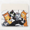 Tux and Tabby Cat Sleepover | Cat Art Mousepad