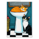 Tux and Tabby Cats in Bathroom Sink Illustration Card