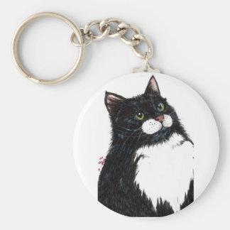 tux black cat basic round button keychain