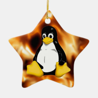 TUX Flames Ceramic Ornament