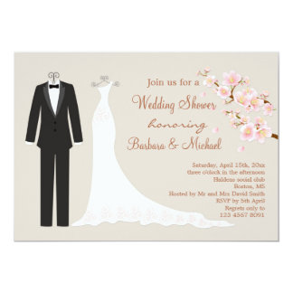 Tux & Gown, cherry blossom Couple's Bridal Shower Card