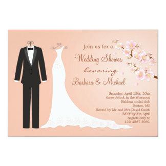 Tux & Gown, cherry blossom Couple's Bridal Shower Invitation