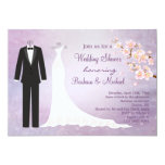 Tux & Gown, cherry blossom Couple's Bridal Shower 5x7 Paper Invitation Card