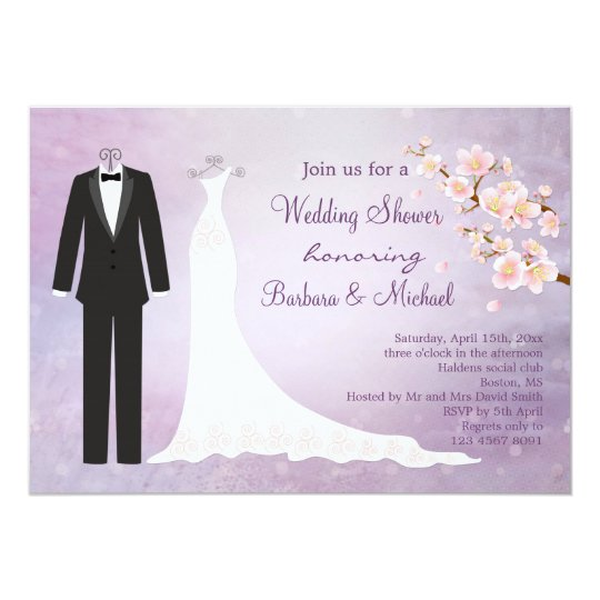 tux gown cherry blossom couples bridal shower invitation