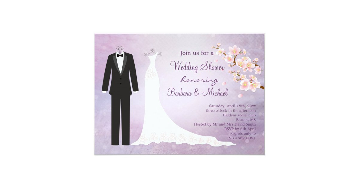 Tux & Gown, cherry blossom Couple\'s Bridal Shower Invitation ...