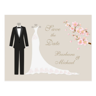 Tux Gown Cherry Blossom Save the Date Postcard