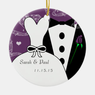 Tux & Gown Wedding Christmas Ornament