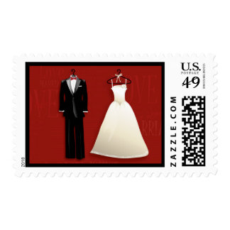 Tux & Gown Wedding Invitation Postage Stamp