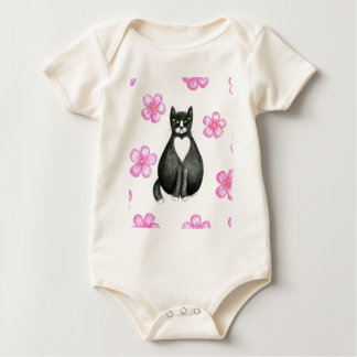 Tux in Flowers baby crawler t-shirt