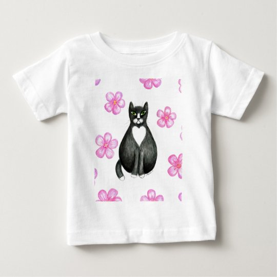 Tux in Flowers baby t-shirt