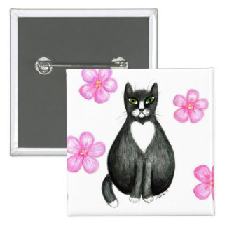 Tux in Flowers button pin