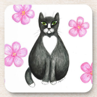 Tux in Flowers cork coasters