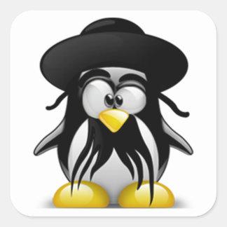 Tux judío (Linux Tux) Pegatina Cuadrada