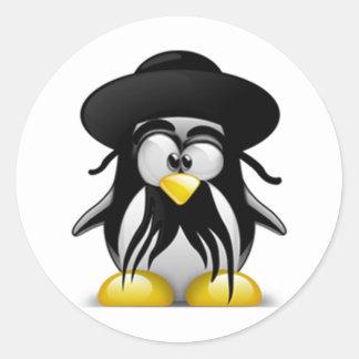 Tux judío (Linux Tux) Pegatina Redonda