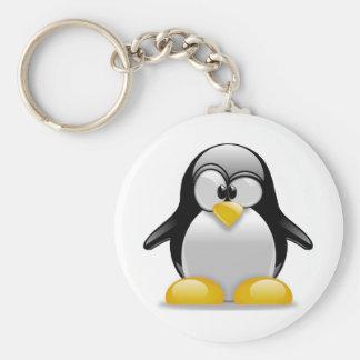 Tux Basic Round Button Keychain