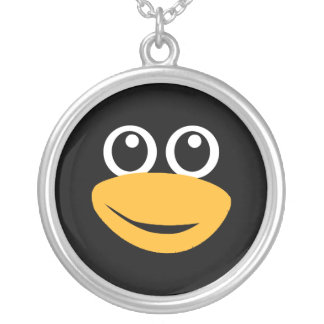 tux penguin face silver plated necklace