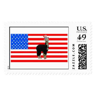Tuxedo alpaca 4th of July Postage