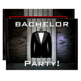 Tuxedo and Brick Wall Bachelor Party Card