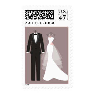 Tuxedo and gown couple Wedding Postage