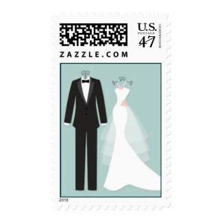 Tuxedo and gown on aquamarine Wedding Postage