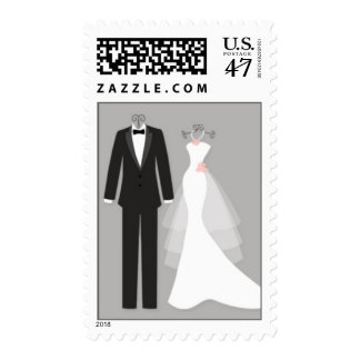Tuxedo and gown on gray couple Wedding Postage
