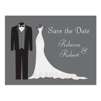 Tuxedo and Gown Wedding Save the Date Postcard