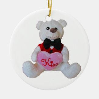 Tuxedo  Bear has a Kiss for You Ceramic Ornament