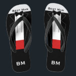"""Tuxedo Best Man Flip Flops - Custom Name, Initials<br><div class=""""desc"""">Tuxedo Best Man Flip Flops - Custom Name,  Initials. Are you having a beach wedding? Or just like to dress your feet with the finest tuxedo? Customize with your name/initials or remove to have none. Fun and quirky for your Tuxedo Wedding Party</div>"""
