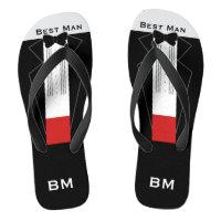 Tuxedo Best Man Flip Flops - Custom Name, Initials
