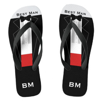 Tuxedo Best Man Flip Flops - Custom Name, Initials