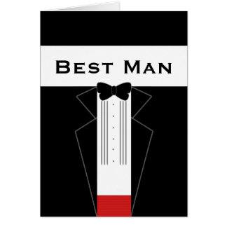 Tuxedo Best Man for the job request custom card