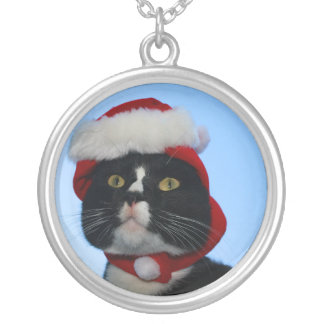 Tuxedo black and white cat with santa hat on pendants