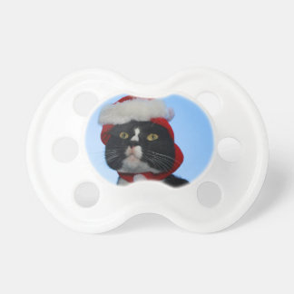 Tuxedo black and white cat with santa hat on BooginHead pacifier