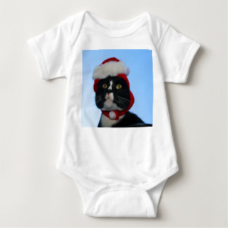 Tuxedo black and white cat with santa hat on t shirts